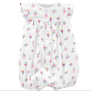 NWT Carter's 6m Ice Cream Snap Up Romper